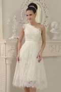 Elegant Ivory One Shoulder A Line Short Lace Wedding Dress