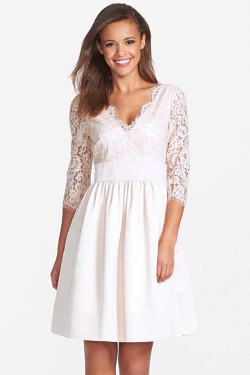 Dressesmall Sexy Ivory V Neck Short Lace Formal Gown With Sleeves