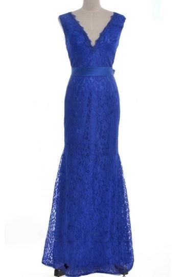 Chic blaues V-Ausschnitt Etui-Linie Abendkleider  aus Spitze Persun