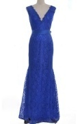 Sexy Blue Mermaid V Neck Ribbon Long Lace Evening Dress