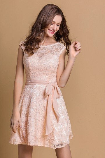 Pink A Line Bateau Knee Length Lace Evening Dress