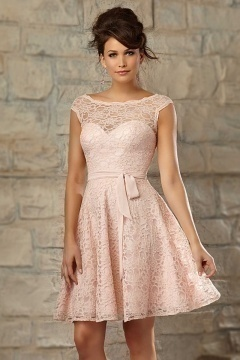 Modern A Line Ribbon Knee Length Pink Tone Bridesmaid Dress