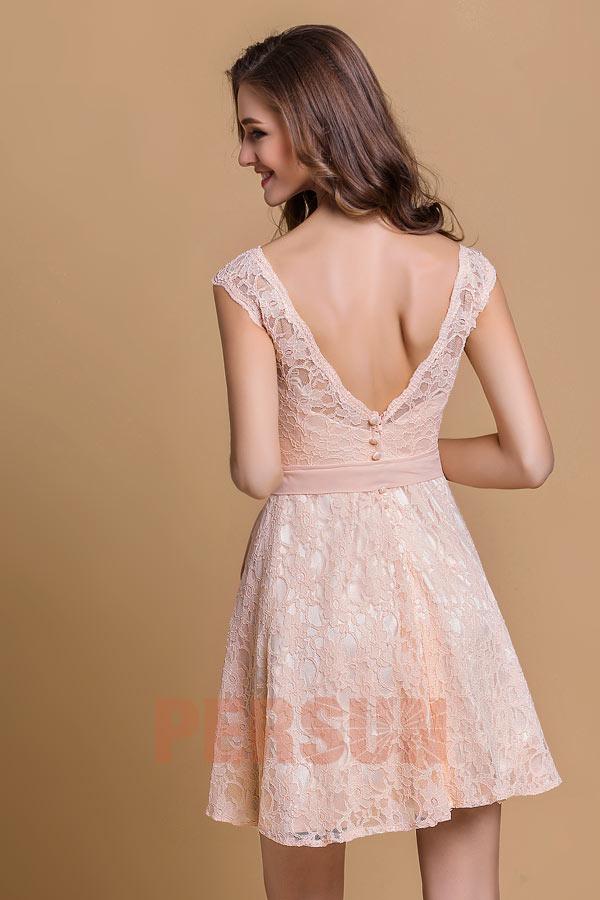petite robe rose en dentelle pour cocktail de mariage dos d collet. Black Bedroom Furniture Sets. Home Design Ideas