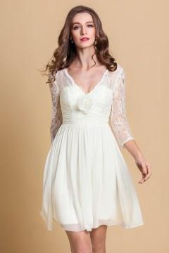 Chic knielanges A-Linie V-Ausschnitt Brautkleider aus Spitze
