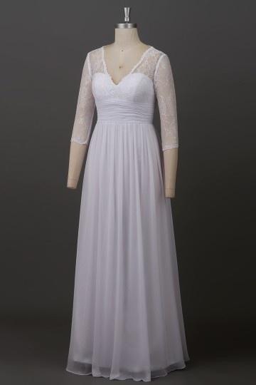 Schlicht A-Linie Chiffon Bodenlang Brautkleider mit Ärmeln Persun