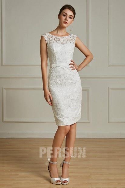 Elegantes knielanges Etui-Linie Abendkleider aus Spitze Persun