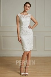 Ivory short lace wedding dress sheath for wedding cocktail