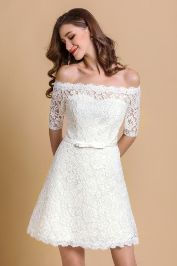 Unique Ivory Column Bateau Short Lace Wedding Dress With Sleeves