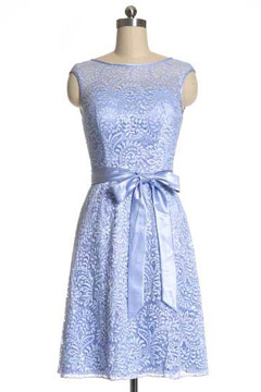 Modern Sleeveless A Line Lace Blue Bridesmaid Dress UK