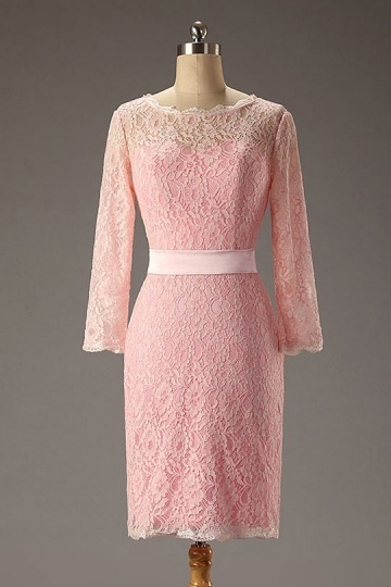 Dressesmall Simple Pink Column Scoop Short Lace Evening Dress With Sleeves