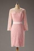Schlichtes Rosa Etui Linie Natürlich Knielang Abendkleider mit Ärmel