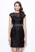 New Black Column Bateau Short Lace Bridesmaid Dress with Sleeves