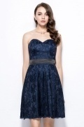 Unique Sweetheart Blue Short A Line Lace Bridesmaid Dress