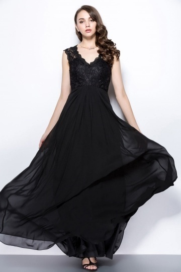 Dressesmall Sexy Black V Neck A Line Long Lace Evening Dress