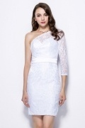 Elegant Column One Shoulder White Lace Prom Dress with Sleeve