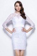 Chic Column White Bateau Knee Length Lace Bridesmaid Dress