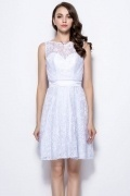 Modern White Bateau A Line Short Backless Lace Bridesmaid Dress
