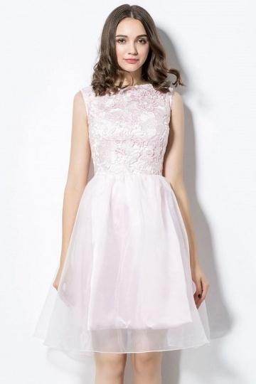 Süßes A-Linie pink knielanges Abendkleider aus Spitze Persun