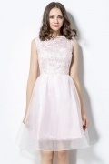Chic Pink Bateau Short Lace Evening Dress