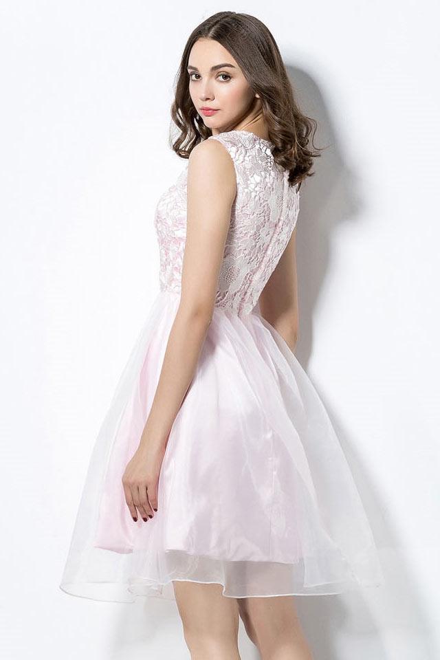 Robe de bal de promo rose courte haut en dentelle ajour e - Robe de promo ...