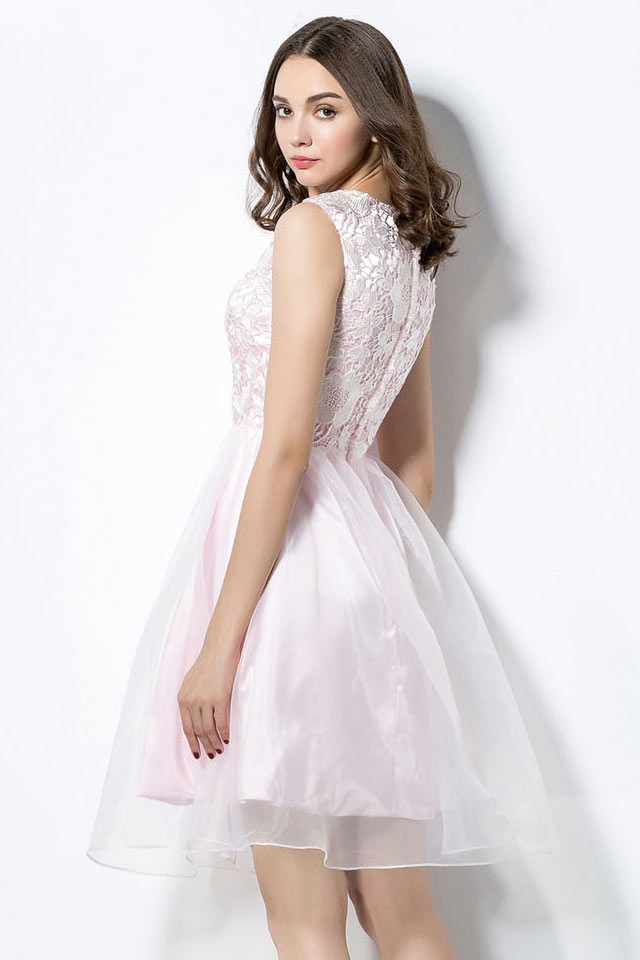 robe de bal de promo rose courte haut en dentelle. Black Bedroom Furniture Sets. Home Design Ideas
