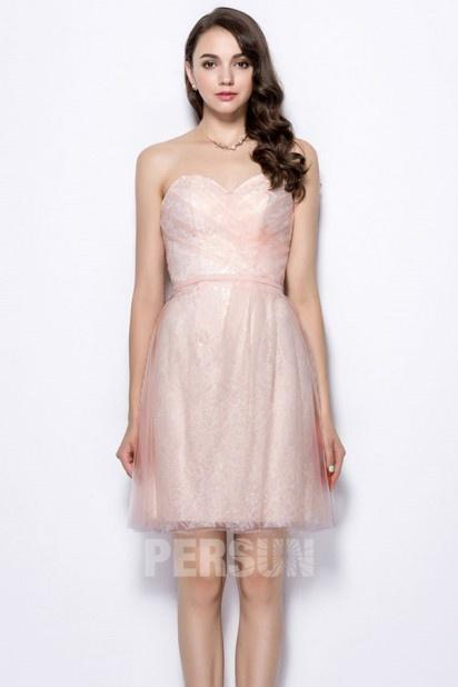 Dressesmall Pink Sweetheart A Line Knee Length Ruching Bridesmaid Dress