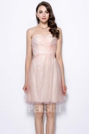 Robe fête d'anniversaire courte à dos ouvert bustier cœur en rose pastel