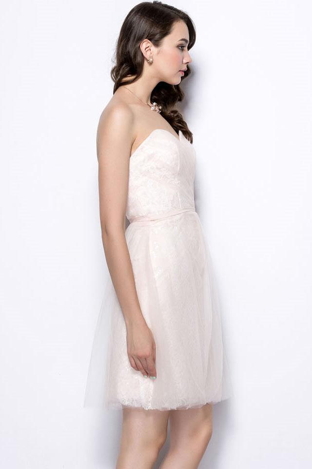 robe de c r monie courte bustier coeur pastel dos chancr. Black Bedroom Furniture Sets. Home Design Ideas
