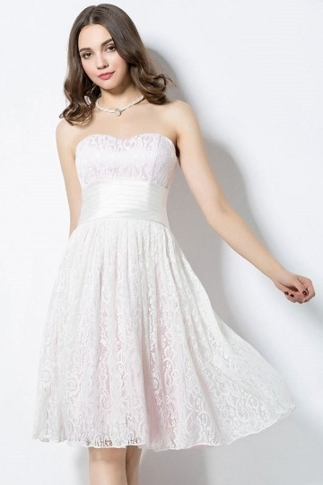 Dressesmall Sweetheart Ivory A Line Lace Short Formal Bridesmaid Dress