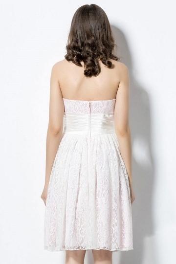 robe demoiselle d 39 honneur courte en dentelle rose p le pour t. Black Bedroom Furniture Sets. Home Design Ideas