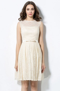 Modern Ivory A Line Bateau Short Lace Bow Formal Bridesmaid Dress