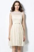 Vintages A-Linie ivory knielanges Abendkleider aus Spitze