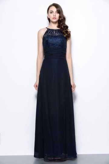 Dressesmall Sexy Blue Scoop A Line Long Ruching Lace Formal Bridesmaid Dress