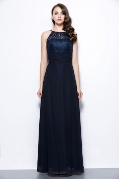 Sexy Blue Scoop A Line Long Ruching Lace Formal Bridesmaid Dress