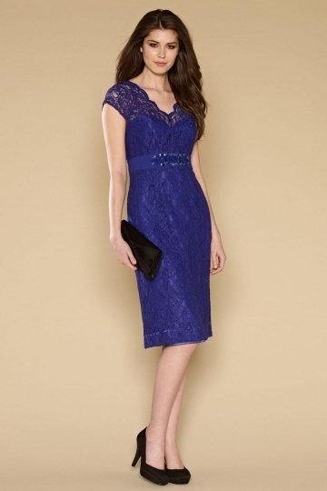 Lace Knee-length Sheath Cocktail dress in Royal blue