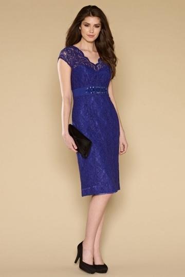 Elegantes Knielanges Etui-Linie V-Ausschnitt Abendkleider aus Spitze Persun