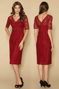 Sexy Lace V Neck Short Sleeves Knee Length Red Evening Dress