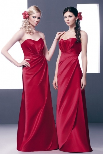 Dressesmall Simple Sweetheart Satin Sleeveless Floor Length Red Formal Bridesmaid Dress