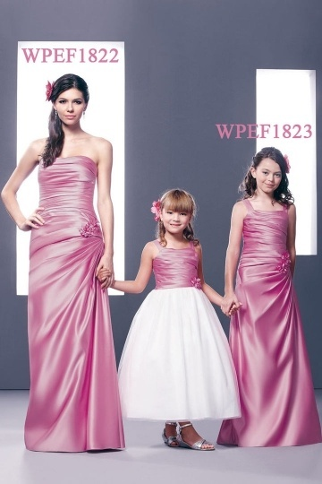 Dressesmall Chic Strapless Ruching Flower Column Full Length Formal Bridesmaid Gown