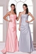 Simple Backless Lace Up Sweetheart Taffeta Pink Formal Bridesmaid Dress