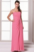 Simple Sweetheart Backless Ruching Full Length Pink Formal Bridesmaid Gown