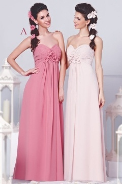 Chic Chiffon Sweetheart Flower Backless Long Pink Formal Bridesmaid Dress