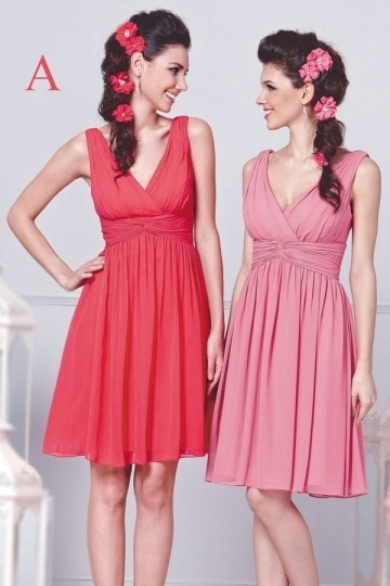 Dressesmall Modern V Neck Sleeveless Chiffon Knee Length Red Formal Bridesmaid Dress