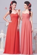 Sexy Sweetheart Chiffon A Line Floor Length Red Bridesmaid Gown