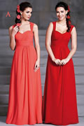 Modern A Line Straps Ruching Chiffon Long Red Bridesmaid Dresses