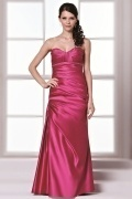 Sexy Backless Satin Beading Column Fuchsia Bridesmaid Dress