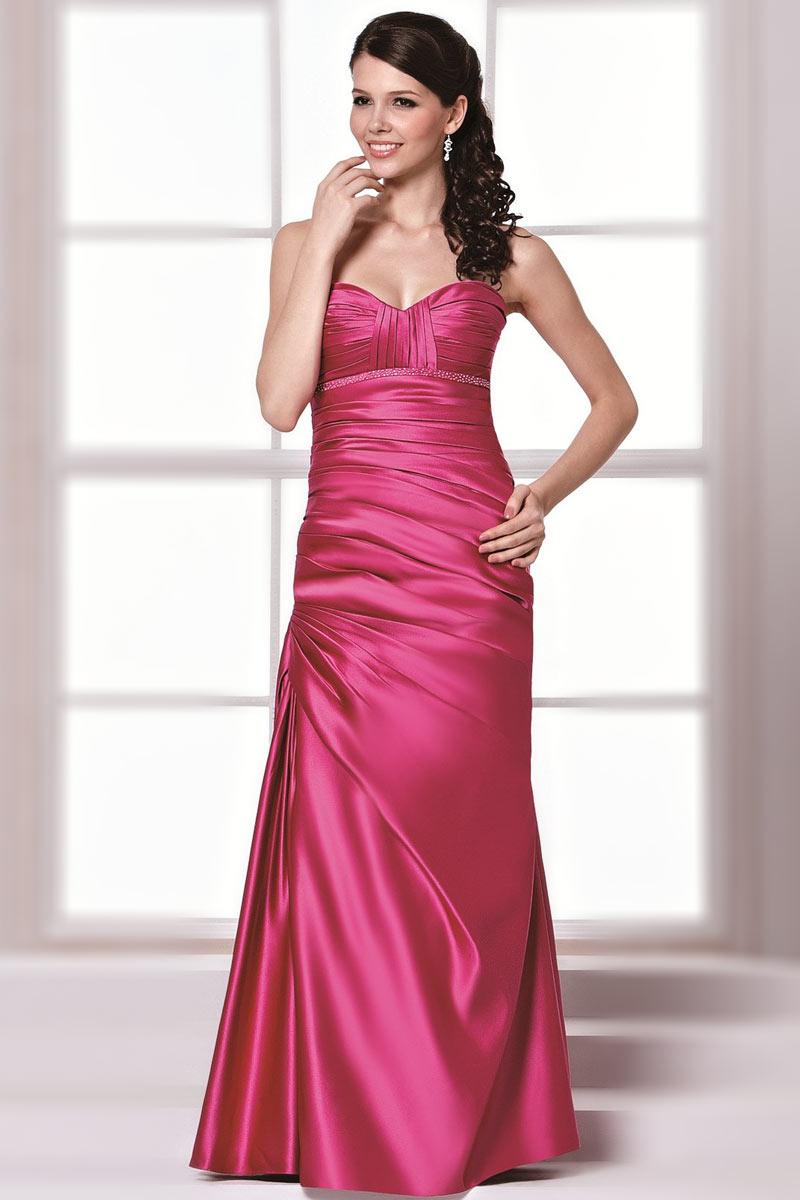 robe longue bustier drap e et strass e trompette en satin. Black Bedroom Furniture Sets. Home Design Ideas