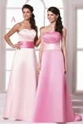 Chic Sweetheart A Line Satin Floor Length Pink Formal Bridesmaid Dress