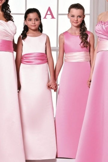 Dressesmall Simple Satin Sleeveless Sash Pink Long Junior Formal Bridesmaid Dress
