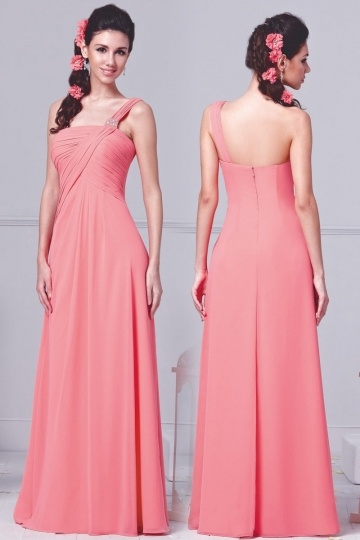 Dressesmall Modern One Shoulder Ruching Chiffon Floor Length Pink Formal Bridesmaid Gown